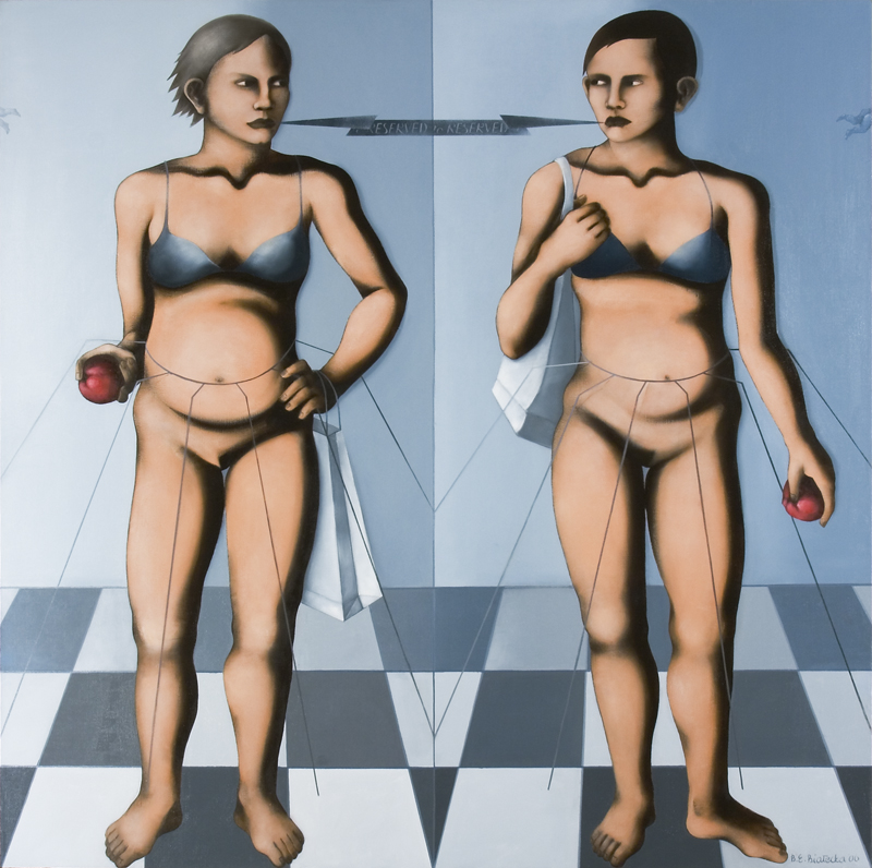 <i>Two Eves</i> 2006      150x150 cm, oil on canvas