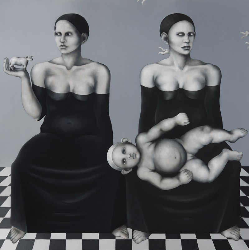 <i>Two Marys</i> 2008      150x150 cm, oil on canvas