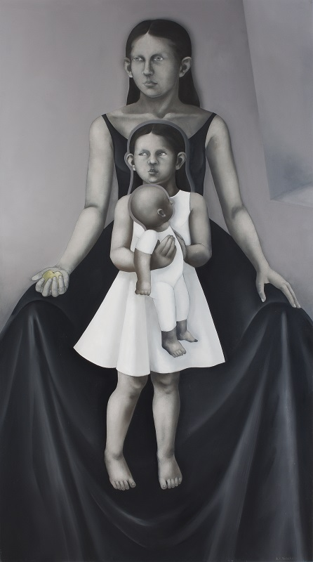 <i>The Virgin and Child with St. Anne</i>  2010      180x100 cm, oil on canvas
